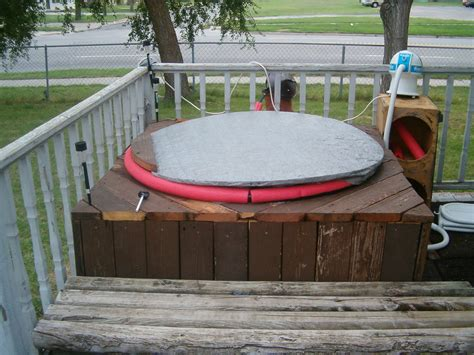 red neck wood fired hot tub  steps  pictures