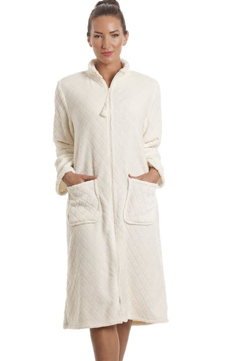 robe chambre polaire femme fleece ivory zip front house coat