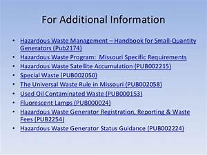 Management of Hazardous Waste in Missouri