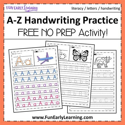 handwriting practice  prep worksheets  learning