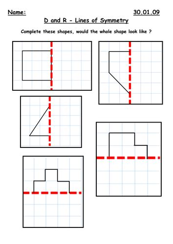 Symmetry Along A Mirror Line By Kbarker86  Teaching Resources Tes