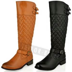 womens winter boots size 9 womens flat knee high quilted black calf winter boots size ebay