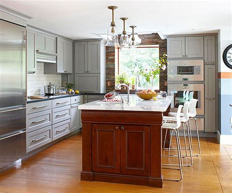 contrasting kitchen islands  homes gardens