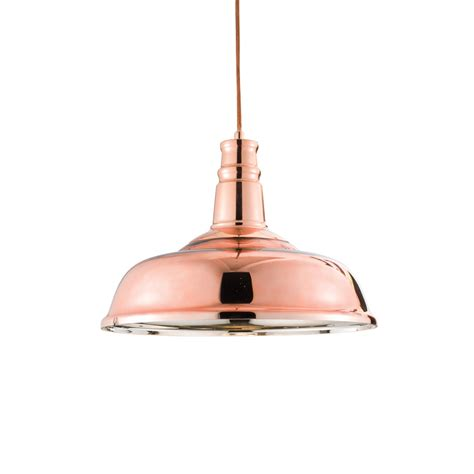 endon 61705 jackman 1 light copper plated glass ceiling pendan