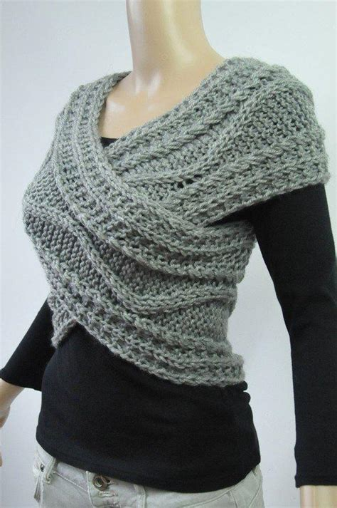 hand knit vest cross sweater capelet neck  maxmelody
