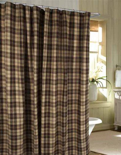 Extra Long Stall Shower Curtain by Shower Curtain Millville Check Brown Nutmeg Primitive
