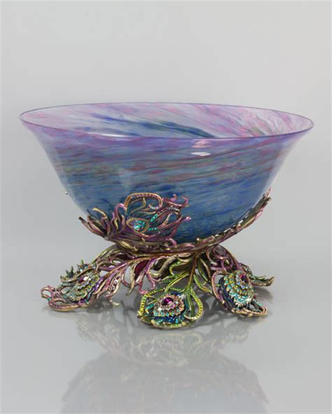 peacock feather oval art glass dish strongwater peacock feather glass bowl neiman