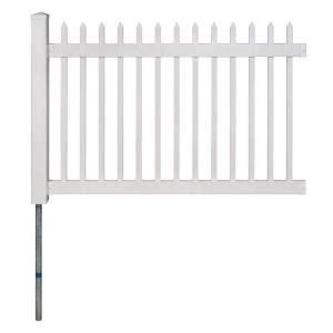 dig permanent  ft   ft nantucket vinyl picket fence panel  post  anchor kit