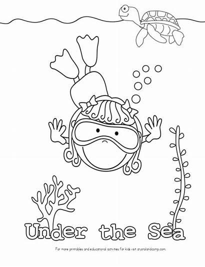 Sea Coloring Under Pages Ocean Kid Printable
