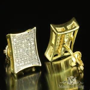 Gold Square Diamond Earrings Men