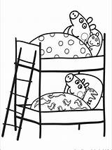 Coloring Bunk Printable Bed Peppa Pig Chinese Following sketch template