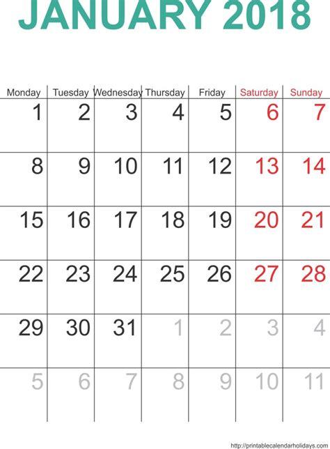 january  calendar template portrait printable