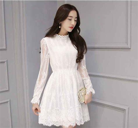dress brokat korea cantik lengan panjang warna putih