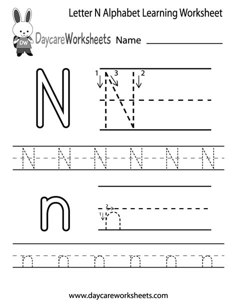 free letter n alphabet learning worksheet for preschool