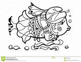 Coloring Fish Animals Funny Columbine Cartoon Illustration Lovable Forest sketch template