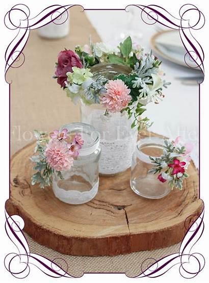 Pink Rustic Floral Jar Centerpiece Jars Flower