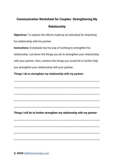 Communication Worksheets For Couples 7 Optimistminds