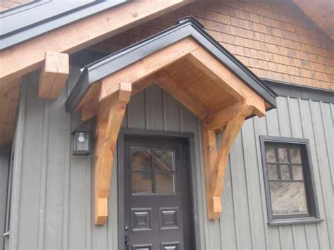 jackson hill timber frames accents backdoor entrance   porch roof front door awning