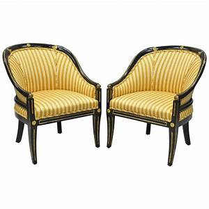 Pair Of Black Ebonized And Gold Neoclassical Barrel Back