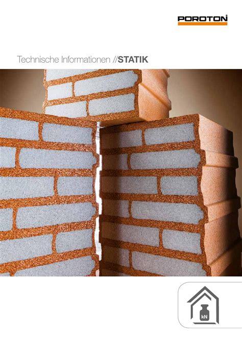 poroton ziegel maße poroton technische informationen statik by wienerberger ag issuu