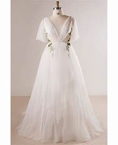 plus size flowing long tulle flowers beach wedding dress With plus size long dresses for weddings