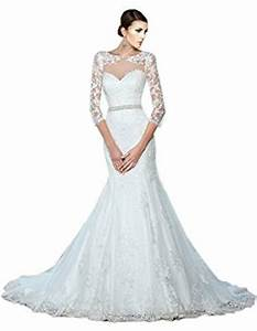 zhuolan white mermaid lace 3 4 length sleeves wedding With amazon dresses for weddings