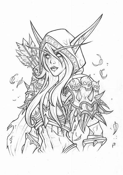 Warcraft Coloring Pages Sylvanas Artstation Adult Drawing