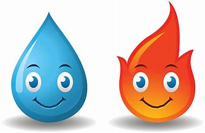Water Fire Characters Cartoon Drop Clip Vector