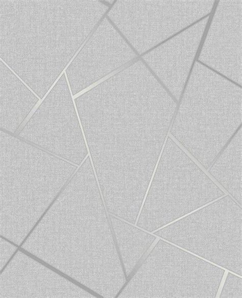 Fine Decor Quartz Fractal Geo Silver Grey Wallpaper FD42280