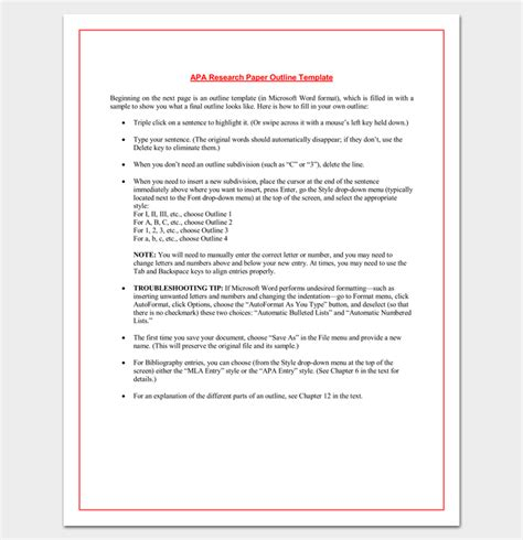 research paper outline  format  examples  samples