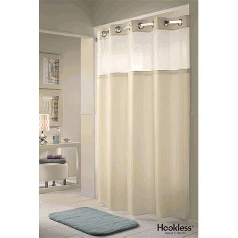 white hookless fabric shower curtain with snap in