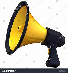 Megaphone Announcement. Shiny And Colorful (Yellow With ...