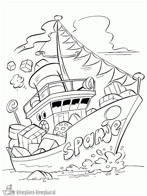 Kleurplaat Sinterklaas Komt Op Bezoke by Kleurplaten Stoomboot Kleurplaten Kleurplaat Nl