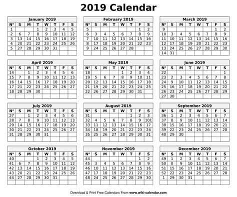 Printable Blank 2019 Calendar Templates