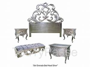 Tete De Lit Blanche : t te de lit baroque doree argent e blanche noire ~ Premium-room.com Idées de Décoration