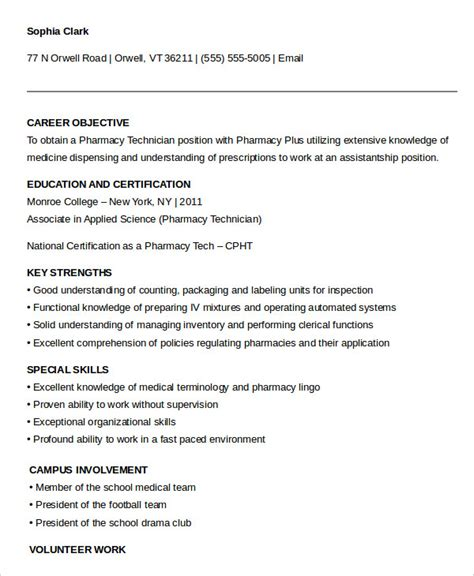 Technologist Resume No Experience by Pharmacy Technician Resume Exle 9 Free Word Pdf