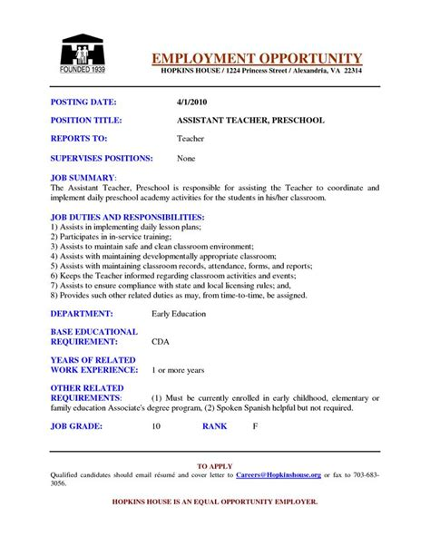 Objective On Resume For Preschool Assistant by Preschool Assistant Resume Exles