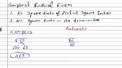 what is the simplest form of the radical expression writing expression in simplest radical form geometry how to help algebra youtube