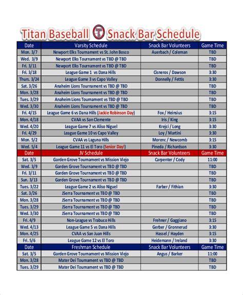snack schedule template   word excel