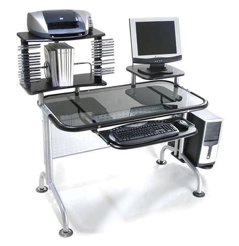 glass table computer desk glass laptop desk chintaly imports 6931 dsk sml 6931