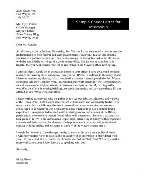 cover letter sample internship 9 sample cover letters for internship sample templates 21164 | Sample Cover Letter for Internship in PDF