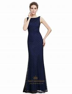 Navy blue lace mermaid long bridesmaid dress fancy for Navy blue long dress for wedding