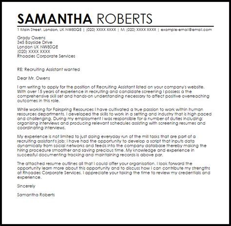 Sle Cover Letter For Recruiter Position by Recruiting Assistant Cover Letter Sle Cover Letter