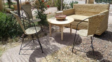 artisanat marocain de marrakech salon de jardin nature complet en roseau osier et rotin