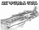 Coloring Carrier Aircraft Uss Ship Ford Coloringsky sketch template
