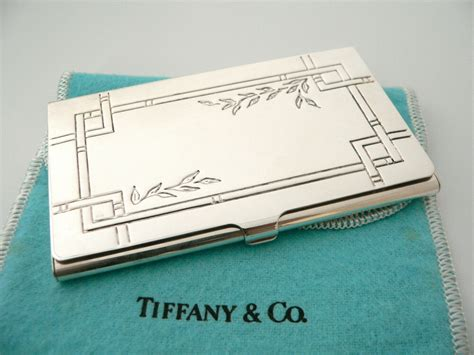 Smooth leather card case tiffany blue. Tiffany & Co Silver Nature Bamboo Leaves Business Card Case Holder Rare w/ Pouch | eBay