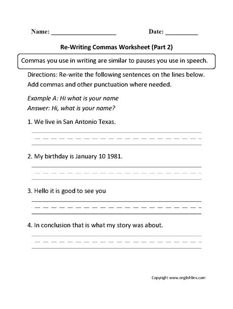 englishlinx com commas worksheets