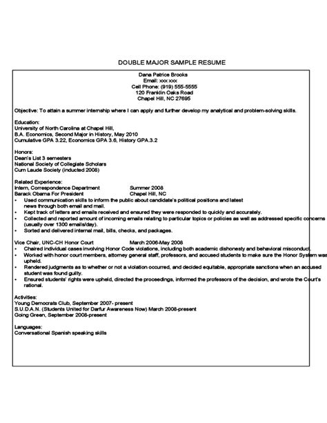 Resume For Year Student by Year Student Sle Resume Free