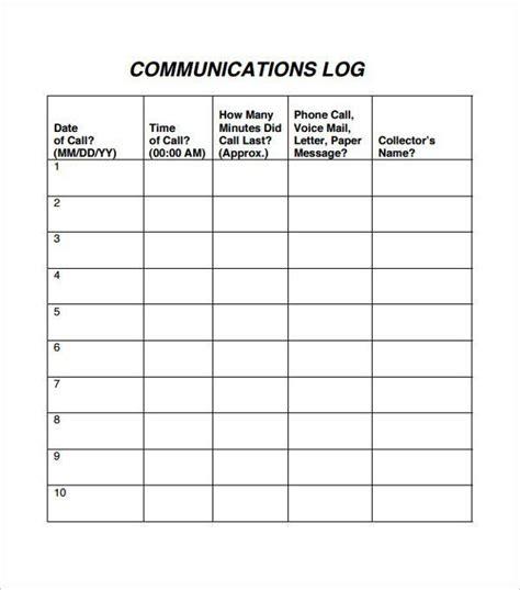 10 Communication Log Templates Communication Log
