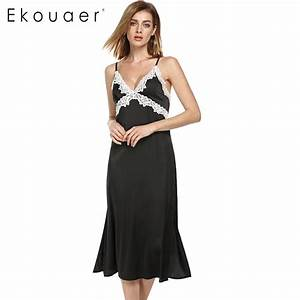Aliexpress.com : Buy Ekouaer long Satin nightgown Women ...